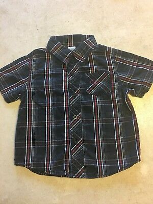 OP Toddler Boy's 3T Red/Black/White Plaid Button Down Shirt