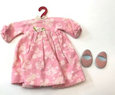 Vintage 1950's Ginny Vogue Doll Pink Flower Night Gown w/ Pink & Blue Slippers