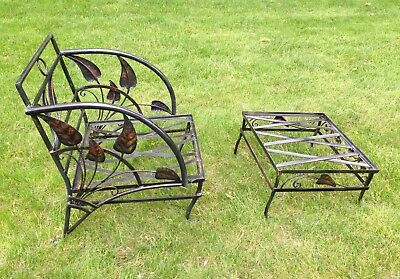 Vintage Salterini Wrought Iron Outdoor Patio Deck Chair & Ottoman, VG Condition