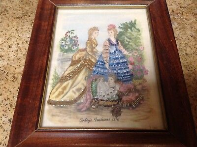 Vintage RARE Embroidery Godey's Fashions 1800's Framed Picture~Embellishments