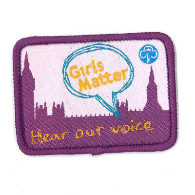 Girl Guide Scout Brownie BADGE PATCH – new! ~ UK Girls Matter Hear Voice 2.25""