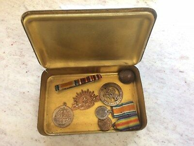 Wwi Princess Mary Tin With Minitures & Badges, Etc.