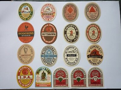 Set of 17 Vintage English Beer Labels in excellent condition