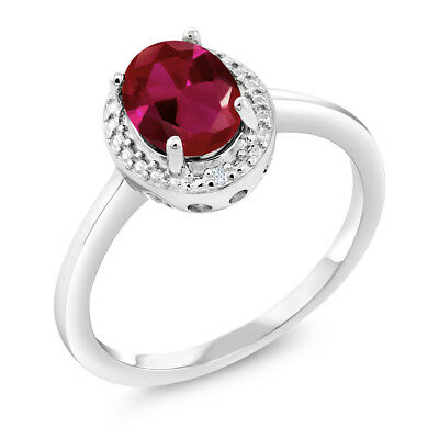 1.16 Ct Oval Red Created Ruby White Diamond 925 Sterling Silver Ring