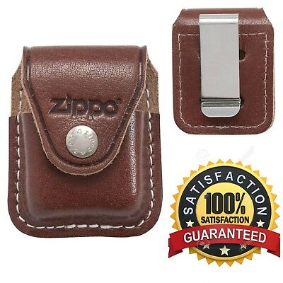 Brown Genuine Leather Lighter Pouch With Hook Clip For Zippo Windproof Lighters