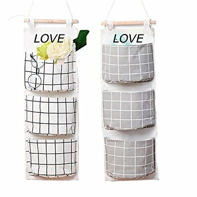 ❤ 2 Packs Linen Cotton Fabric Wall Door Closet Hanging Storage Bag 3 Pockets Ove