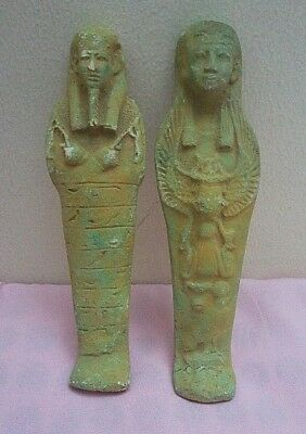 2 ANCIENT EGYPTIAN ANTIQUE USHABTI Shabti Limestone 1785-1659 BC