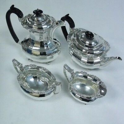 Antique 1.7kg Solid Silver Tea & Coffee Set S.Blackensee & Sons Chester 1938