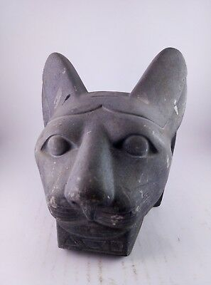 RARE ANCIENT EGYPTIAN ANTIQUE BAST BASTET CAT Head Statue 1478-1235 BC