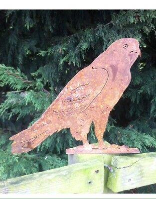 Stunning Rusty Metal Bird of Prey Fence Post Topper Garden Ornament