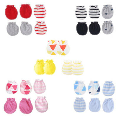 3pairs baby anti scratching gloves infant protection face cotton scratch mitt Jt