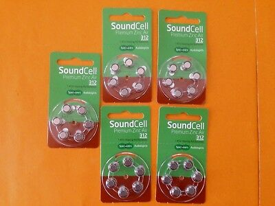 LOT 5 packs of Hearing aid batteries~Sound Cell Premium Zinc Air PR41 312~1.45v