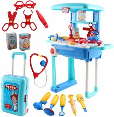deAO Work Bench Playset with Tools Set - Handy 2in1 Carrycase & Stool.FAST