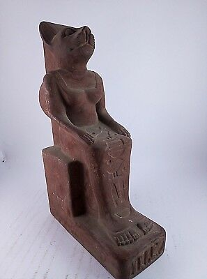 RARE ANCIENT EGYPTIAN ANTIQUE BAST BASTET CAT Seated Statue 1478-1235 BC