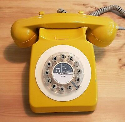 Vintage Retro Style 746 Corded Telephone by Wild and Wolf English Mustard