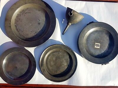 Old English Pewter Dinner Plates, Warming Plate & Funnel.