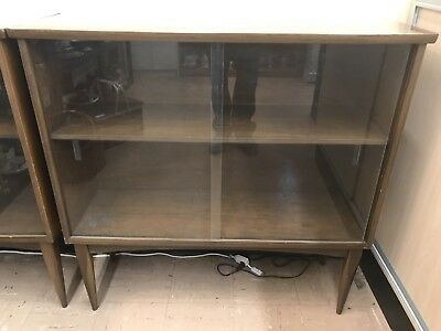 Mid Century Wood Bookcase With Sliding Glass Doors
