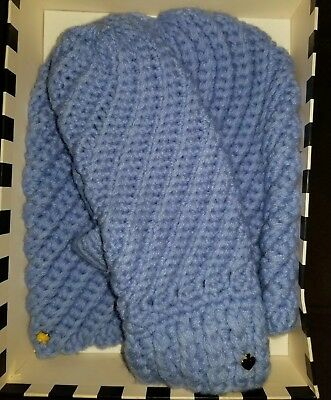 NWT KATE SPADE New York Blue Periwinkle Beanie Hat And Mittens Set