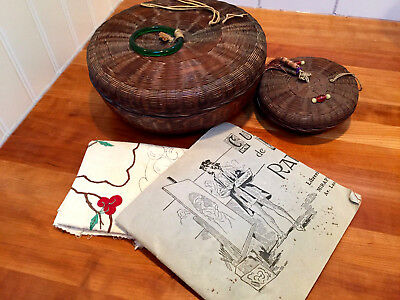 """Set 2~40's Vintage Round Chinese Wicker SEWING BASKETS 11""""+6"""" w/ Sewing SAMPLER!"""