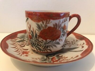 Vintage Hand Painted Bird Flowers Demitasse Coffee Cup Saucer Cabinet China
