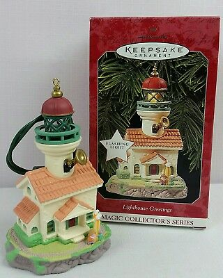"1998 Hallmark Keepsake Ornament ""LIGHTHOUSE GREETINGS"" Magic 2nd in Series~MINT"
