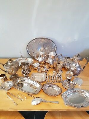 A Job Lot Of 10kg  Vintage Silver Plated Items.