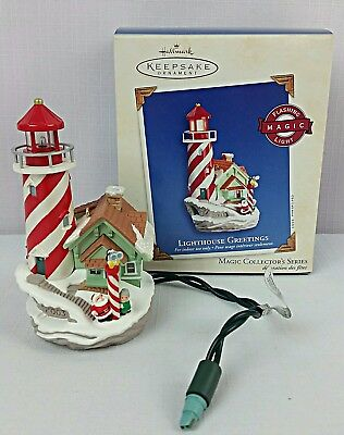 "2003 Hallmark Keepsake Ornament ""LIGHTHOUSE GREETINGS"" Magic 7th in Series~MINT"