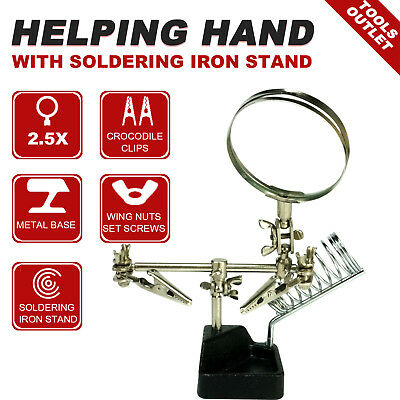 Soldering Iron Stand  Magnifying glass  2.5x  Craft Assembly Helping hands