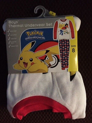 Pokemon Boys Thermal Underwear Set, Size 8, New in package! 100% cotton