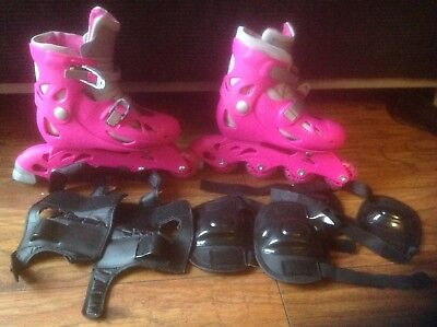 Girls Pink Inline Roller Blades Adjustable Size 12-2