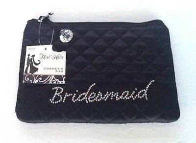 """""""Bridesmaid"""" Black Cosmetic Bag Small Tote Bridal Shower Gift Rhinestone Quilted"""
