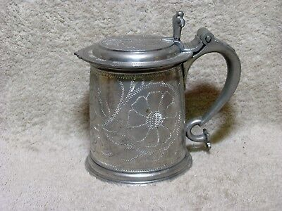 Vintage Tankard with Hinged Lid Heavyweight I G KMD Royal Holland Pewter