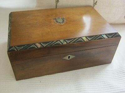 Beautiful late Victorian fitted and inlaid walnut sewing box.