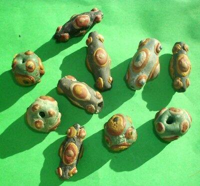 Ancient Celtic Glass Paste Beads - 10 Pieces - 400 Bc - Rare