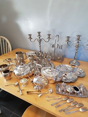 A Job Lot Of 11kg  Vintage Silver Plated Items.