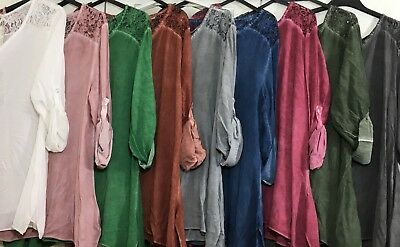 Ladies Italian Viscose Top Sequin Tunic Lagenlook Quirky Dress Mesh Blouse Dyed