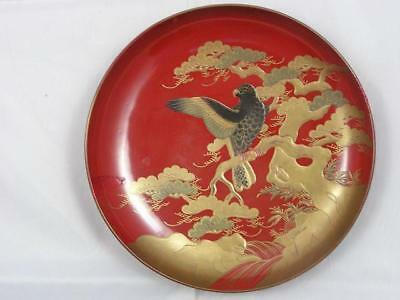 Large antique Japanese lacquer sake cup with bird of prey 1900-15 #4233C
