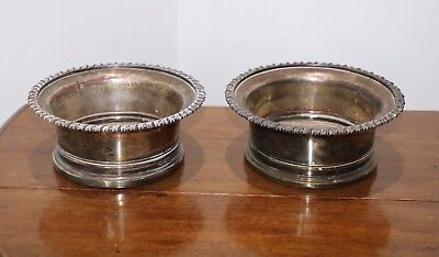 Fine Pair Of Victorian Silver Plate Wine Bottle Coasters
