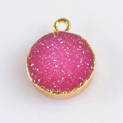 12mm Round Hot Pink Agate Druzy Geode Charm One Bail Gold Plated B072381