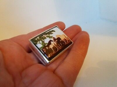 Solid Silver And Enamel Pill Box.
