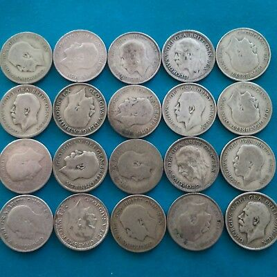 job lot of 20 pre 47 shillings 50% silver , George V ,(107.5 grams weight).