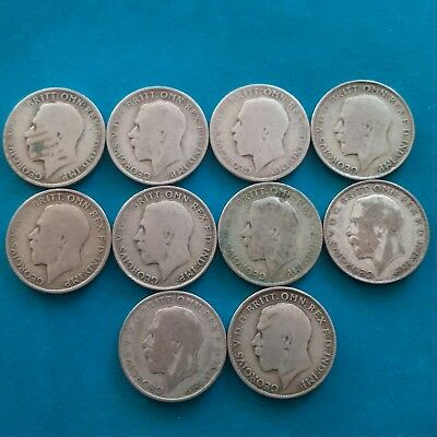 job lot of 10 pre 47 George V 50% silver florins ( 108.6 grams weight)