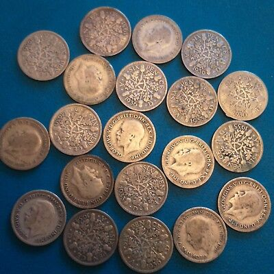 job lot of 20 pre 47 sixpences . 53.2 grams weight 50% silver George V.