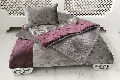 Two Tone Personalised Memory Foam Velvet Pet Dog Cat Day Bed Set other choices
