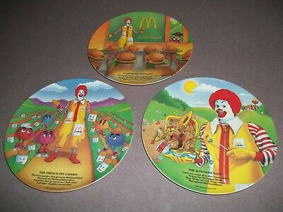 Lot Of 3 1989 Ronald Mcdonald Melamine Plates Nice Pre-Owned