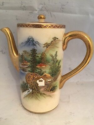 Finely Hand painted Japanese Satsuma Coffee Pot   1890/1900