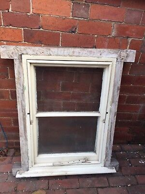 """Small reclaimed Victorian Wooden Bathroom window Approx 32""""high by 21""""wide"""