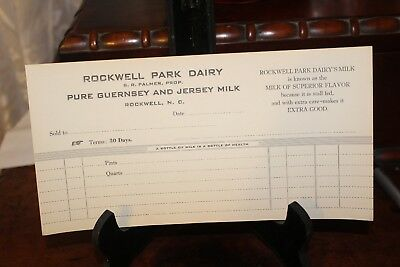 Rockwell Park Dairy Invoices - Nos- Guaranteed Original--Lot Of #5 (Five
