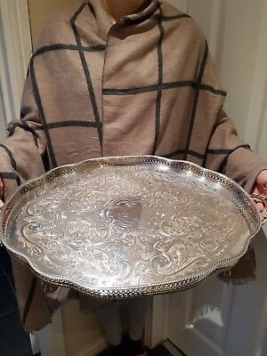 LOVELY ANTIQUE VERY LARGE 55cm  SILVER PLATED TRAY IN VERY GOOD CONDITION