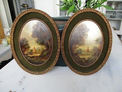 two beautiful italian oil paitings on copper signed giana...